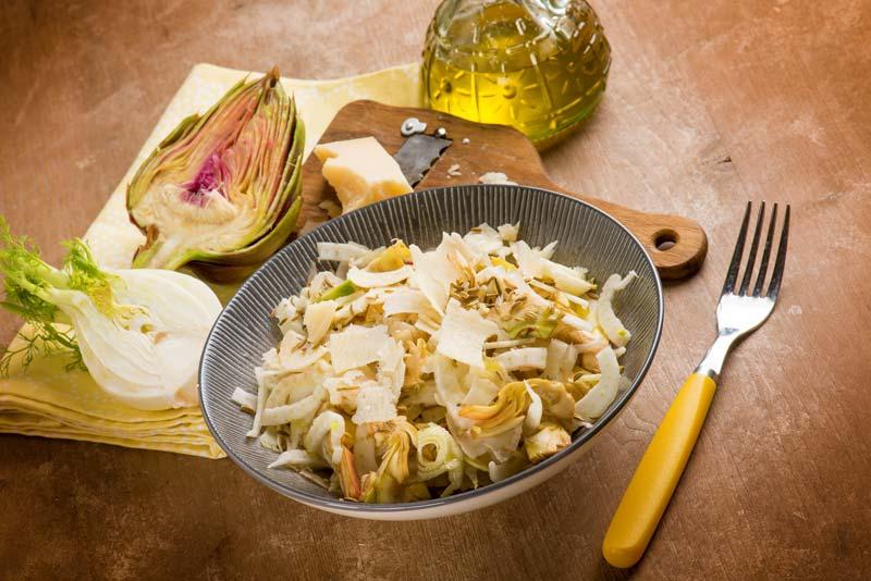 Insalata di carciofi, mozzarella e bottarga